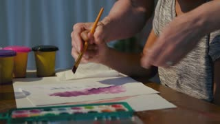 Teacher Helps The Young Girl With Brush Strokes For Art Class 4 K