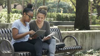 two college students studying on campus 4k