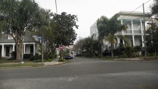 wide establishing shot of a typical neighborhood in New Orleans 4k