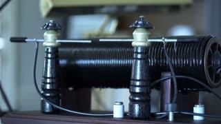 wide shot of a 1912 spark gap transmitter being used 4k