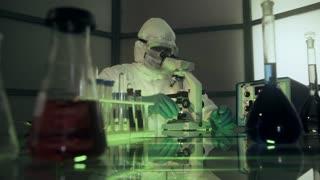 wide shot of laboratory scientist looking at blood sample 4k
