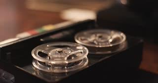 wide shot of vintage tape recorder macro 4k