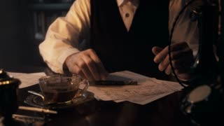 wide shot thirties businessman writing at his desk 4k
