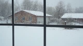 view of snow from window