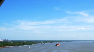 Mississippi river view when driving over the bridge in Baton Rouge Louisiana.