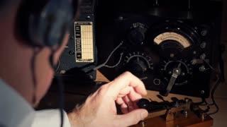 vintage radio operator at his station