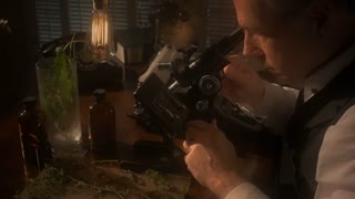 vintage scientist looking through microscope colorized.