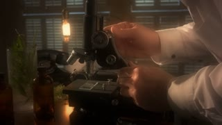 vintage scientist working with a microscope colorized 4k