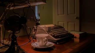 vintage shot of old fan and typewriter