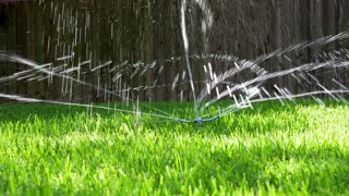 water sprinkler on a lawn 4k