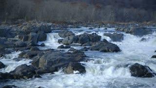 Wide shot of river rapids