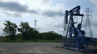 wide shot oil pumpjack.