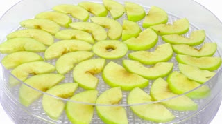 Time-lapse of drying (dehydrating) green apple 3a2 in UHD 4K format