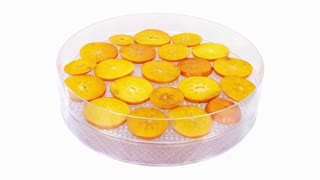 Time-lapse of drying (dehydrating) persimmon fruit slices in dehydrating machine 1x3, 4K format
