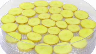 Time-lapse of drying (dehydrating) potato vegetable 1a2 in UHD 4K format
