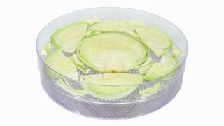 Time-lapse of drying (dehydrating) cabbage (Brassica oleracea) vegetable 1x1