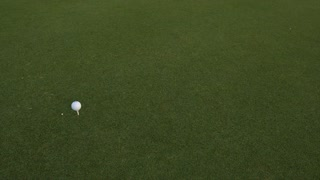 Golf ball standing on a tee before impact