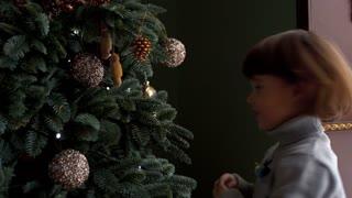 The family decorates Christmas tree