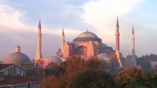 A beautiful time lapse shot of the Hagia Sophia Mosque in Istanbul, Turkey, at dusk.