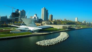 A good aerial shot over the Milwaukee Wisconsin waterfront reveals the art museum.