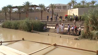 A modern baptism site for Christians along the Jordan River in Israel.
