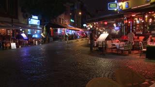 A night shot of a street in Istanbul, Turkey.