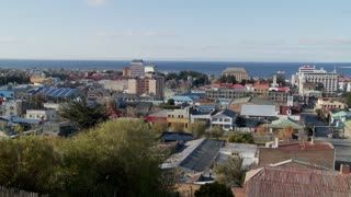 A panning shot over downtown Punta Arenas in the Southern part of Chile.