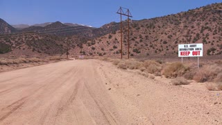 A sign warns trespassers not to enter an army proving ground area in Nevada.