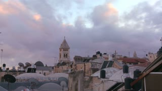 A time lapse view over the city skyline of the old city of Jerusalem.
