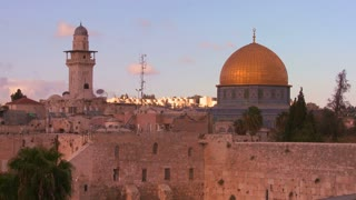 A timelapse shot of clouds moving behind the Dome of the Rock in the Old City of Jerusalem.