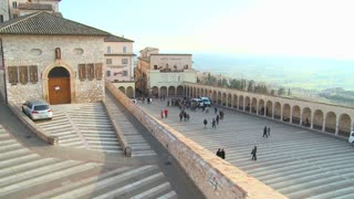 A view over the main church in the town of Assisi Italy.