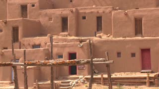Adobe buildings at the Taos pueblo, New Mexico.