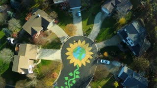 An aerial over a neighborhood with the street painted as a large flower.