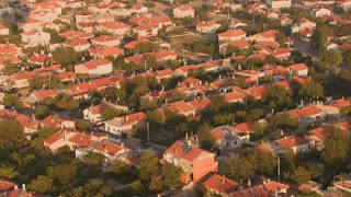 An aerial perspective over a neighborhood.