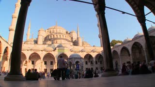 An interiorcourtyard view of the Blue Mosque In Istanbul, Turkey.