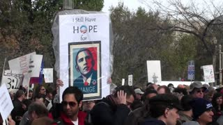 An Obama hope sign at a campaign rally.