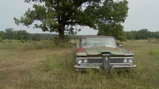 An old abandoned Ford Edsel sits in a field.