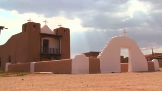An old adobe church stands at the Taos pueblo in New Mexico.