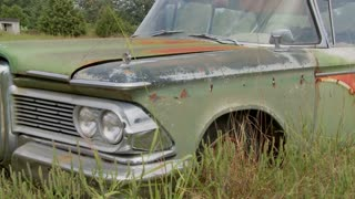 An old Ford Edsel sits in a field.