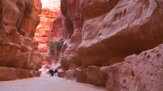 Arab men walk through the narrow canyons leading up to Petra, Jordan.