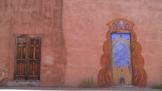 Beautiful painted adobe doors in Santa Fe, New Mexico.