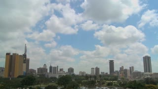 Beautiful time lapse shot of clouds moving over the city of Nairobi, Kenya.