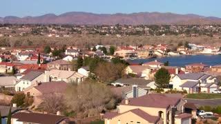 Birds eye view over suburban sprawl in a desert community.