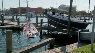 Boats are beached after Hurricane Ike rips through Galveston Texas.