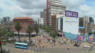 Busy street scene in Nairobi, Kenya.