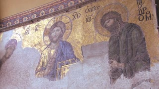 Christian murals the spacious of the famous of Hagia Sophia Mosque in Istanbul, Turkey.