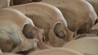 Close up of skulls on display in a church dedicated to the Rwandan genocide.