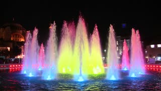 Colorful fountains in istanbul, Turkey at dusk or night.