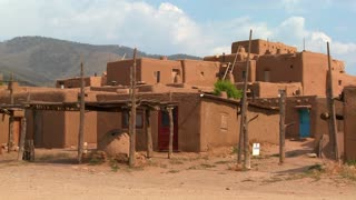 Establishing shot of the Taos pueblo in New Mexico.