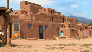 Establishing shot of the Taos pueblo, New Mexico.